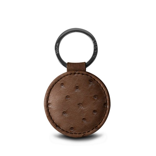 "Round key ring (2"") - Tobacco - Real Ostrich Leather"