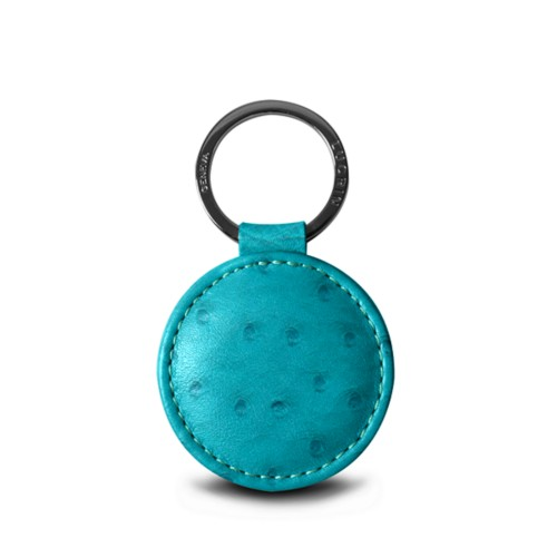 """Round key ring (2"""") - Turquoise - Real Ostrich Leather"""