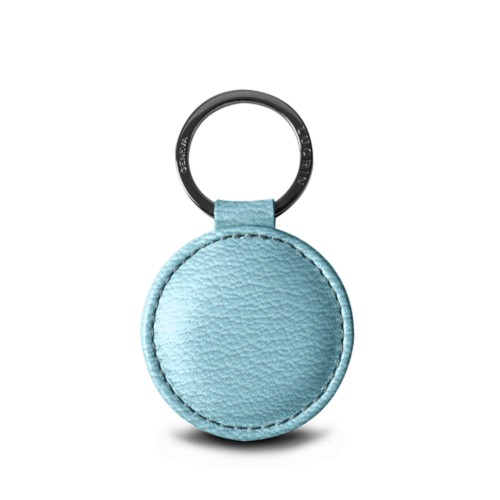 Round key ring (5 cm) - Sky Blue - Goat Leather