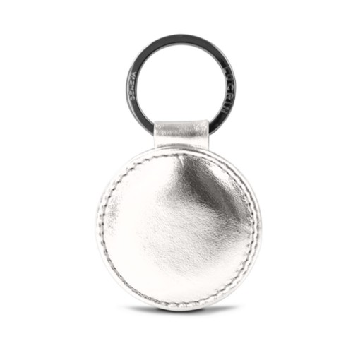 Round key ring (2 inches) - Silver - Metallic Leather