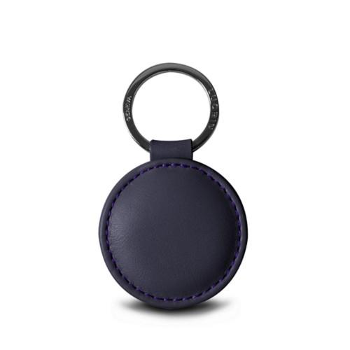 Porte-clés rond (5 cm) - Violet - Cuir Lisse