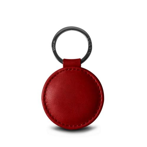 Porte-clés rond (5 cm) - Carmin - Cuir végétal