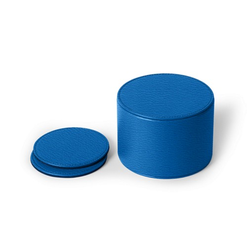 Set of 12 coasters - Royal Blue - Goat Leather