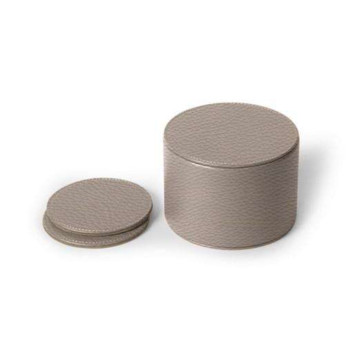 12-teiliges Glasuntersetzerset - Hellbraun - Genarbtes Leder