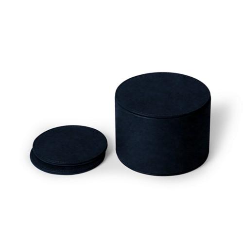 12-teiliges Glasuntersetzerset - Königsblau  - Pflanzlich Gegerbtes Leder