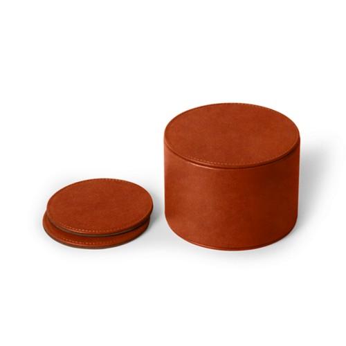 12-teiliges Glasuntersetzerset - Cognac - Pflanzlich Gegerbtes Leder