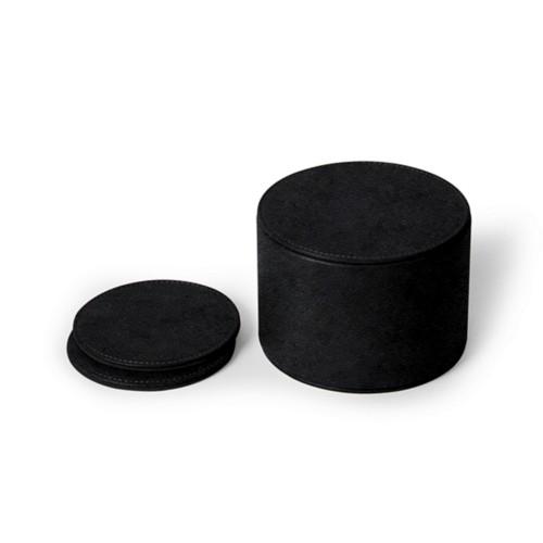 12-teiliges Glasuntersetzerset - Schwarz - Pflanzlich Gegerbtes Leder