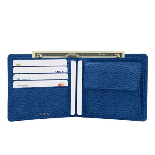 Standardportemonnaie - Königsblau  - Genarbtes Leder