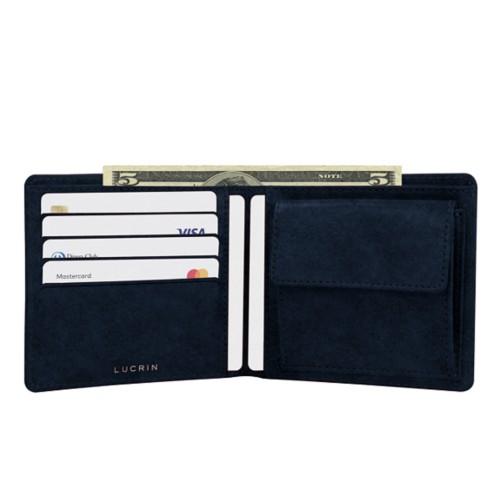 Porte-monnaie homme classique - Bleu Marine - Cuir végétal