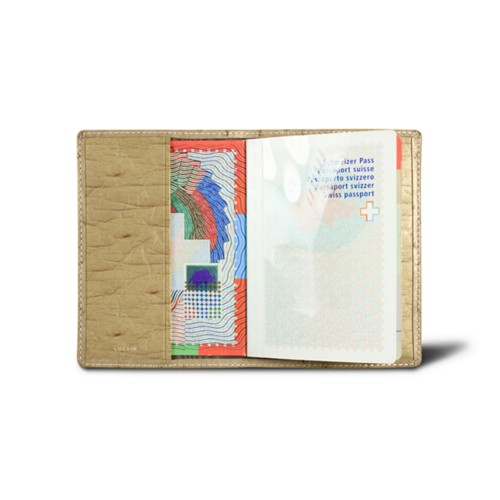 Universal Passport Cover - Beige - Real Ostrich Leather