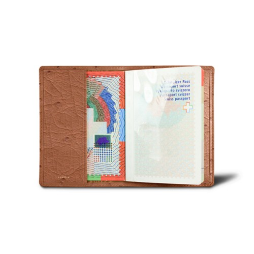 Universal Passport Cover - Tan - Real Ostrich Leather