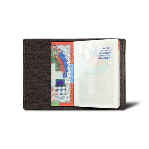 Universal passport cover - Dark Brown - Real Ostrich Leather