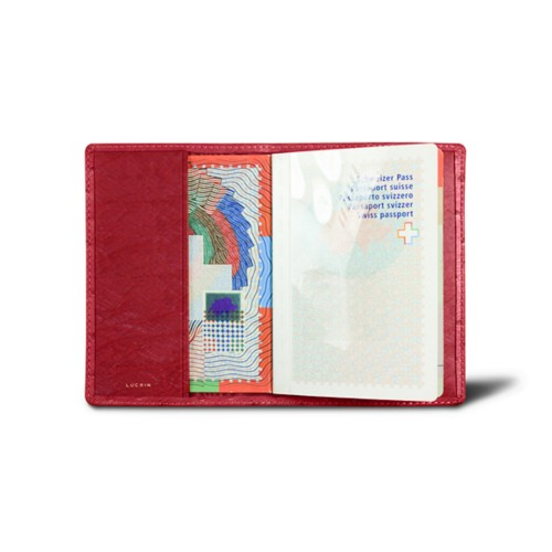 Universal Passport Cover - Red - Real Ostrich Leather