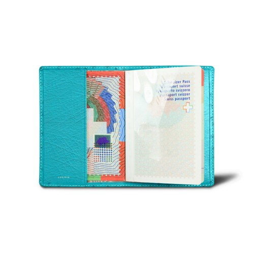 Universal passport cover - Turquoise - Real Ostrich Leather