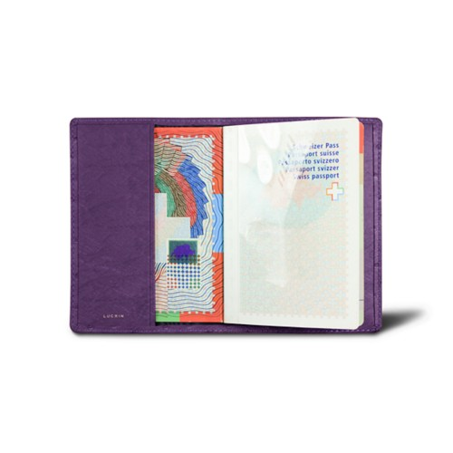 Universal passport cover - Purple - Real Ostrich Leather