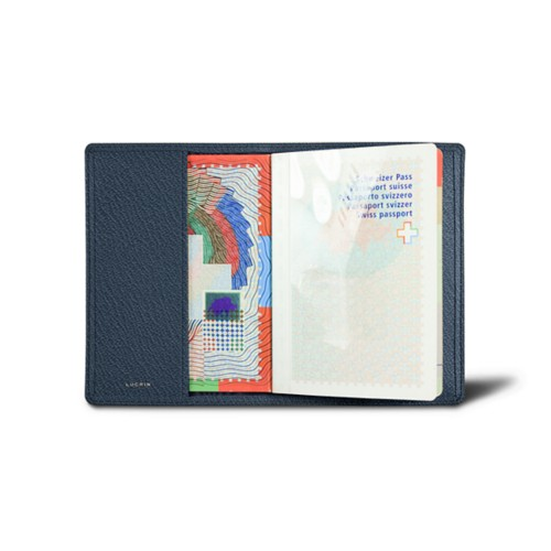 Universal passport cover - Navy Blue - Goat Leather