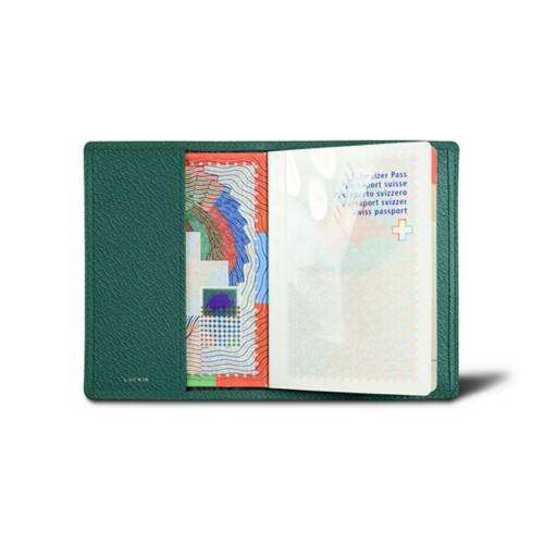 Universal passport cover - Dark Green - Goat Leather