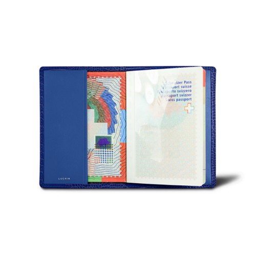 Universal passport cover - Royal Blue - Crocodile style calfskin