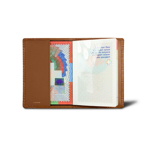 Universal passport cover - Camel - Crocodile style calfskin