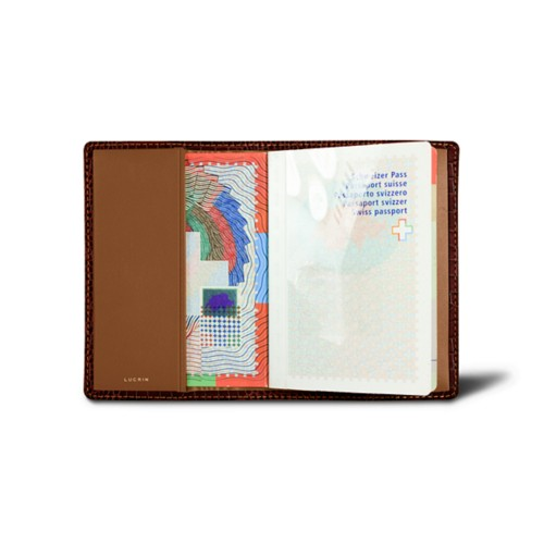 Universal Passport Cover - Tan - Crocodile style calfskin