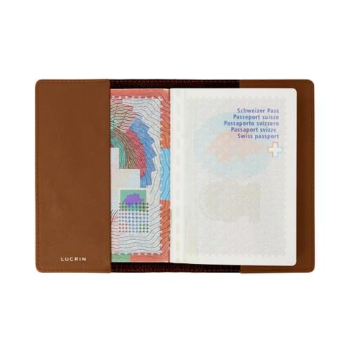 Universal passport cover - Tan - Crocodile style calfskin