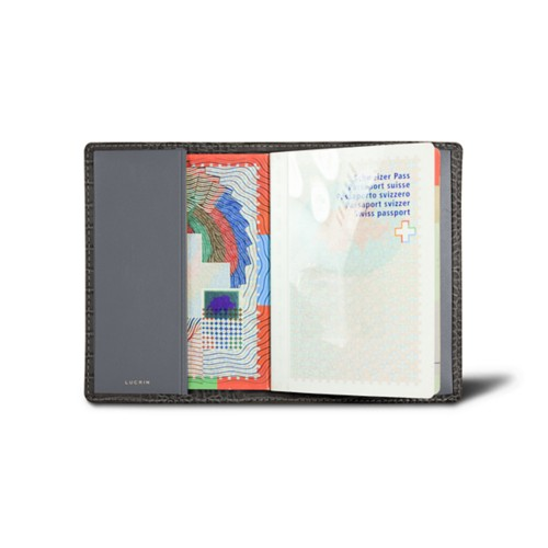 Universal passport cover - Mouse-Grey - Crocodile style calfskin
