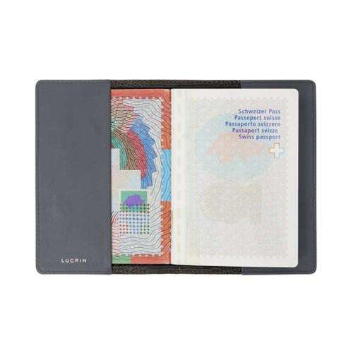 Universal passport cover - Mouse-Grey - Crocodile style calfskin