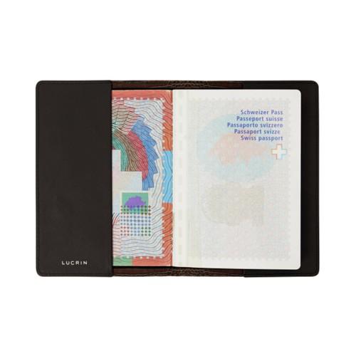 Universal passport cover - Dark Brown - Crocodile style calfskin