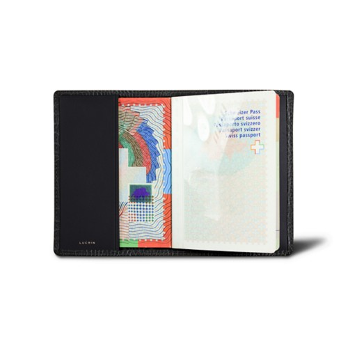 Universal Passport Cover - Black - Crocodile style calfskin