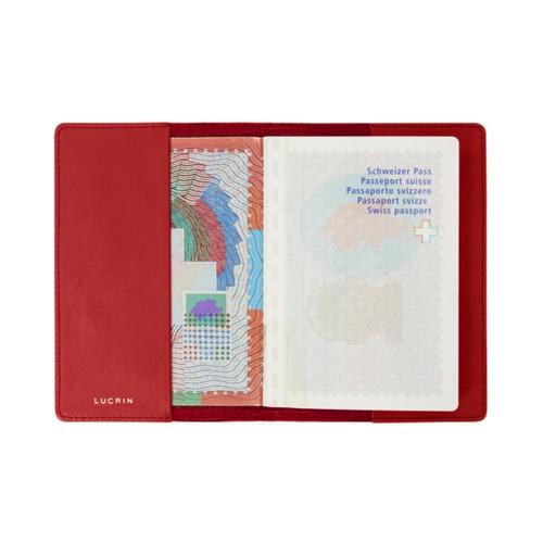 Universal passport cover - Red - Crocodile style calfskin