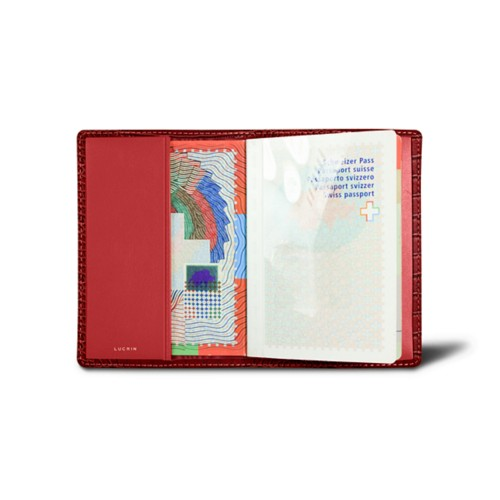 Universal passport cover - Red - Crocodile style calfskin