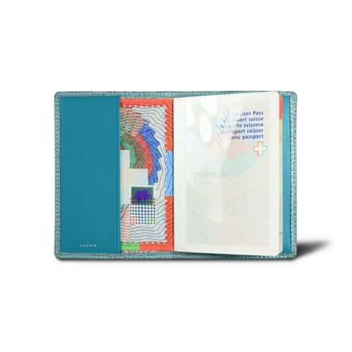 Universal passport cover - Turquoise - Crocodile style calfskin