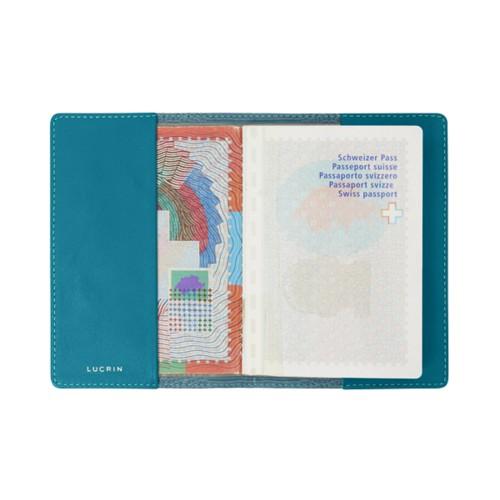 Universal passport cover - Turquoise - Crocodile style calfskin
