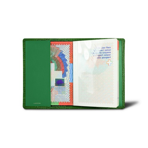 Universal Passport Cover - Light Green - Crocodile style calfskin