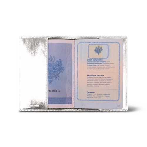 Universal passport cover - Silver - Metallic Leather