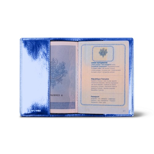Universal passport cover - Royal Blue - Metallic Leather