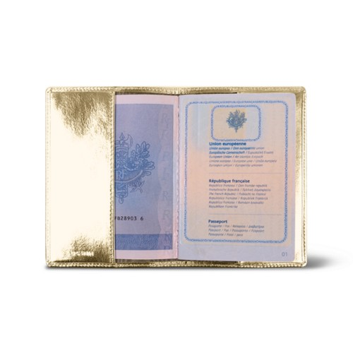Universal passport cover - Golden - Metallic Leather
