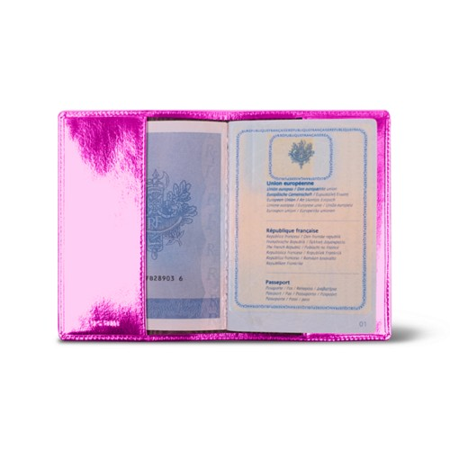 Universal passport cover - Fuchsia  - Metallic Leather