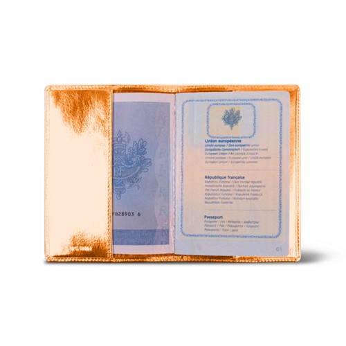 Universal passport cover - Orange - Metallic Leather