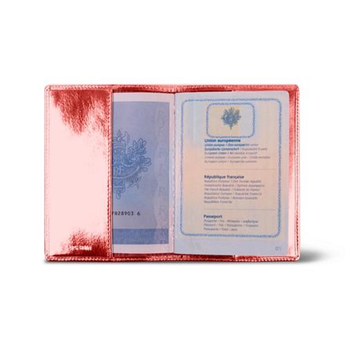 Universal passport cover - Red - Metallic Leather