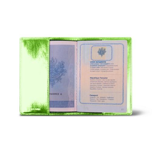 Universal passport cover - Light Green - Metallic Leather