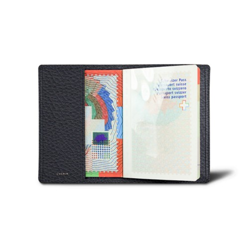 Universal passport cover - Navy Blue - Granulated Leather