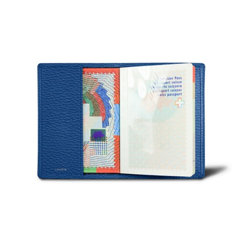 Universal passport cover - Royal Blue - Granulated Leather