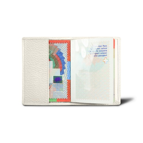 Universal passport cover - Off-White - Granulated Leather