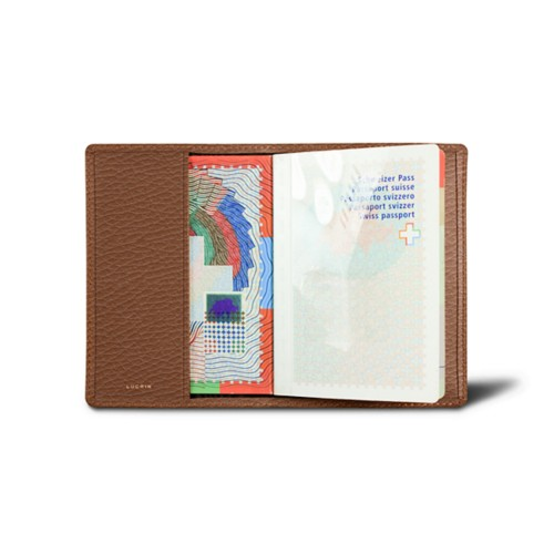 Universal passport cover - Tan - Granulated Leather