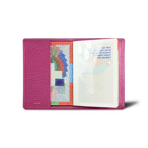 Universal passport cover - Fuchsia  - Granulated Leather