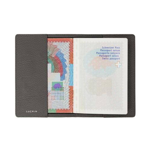 Housse universelle pour passeport - Gris Souris - Cuir Grainé