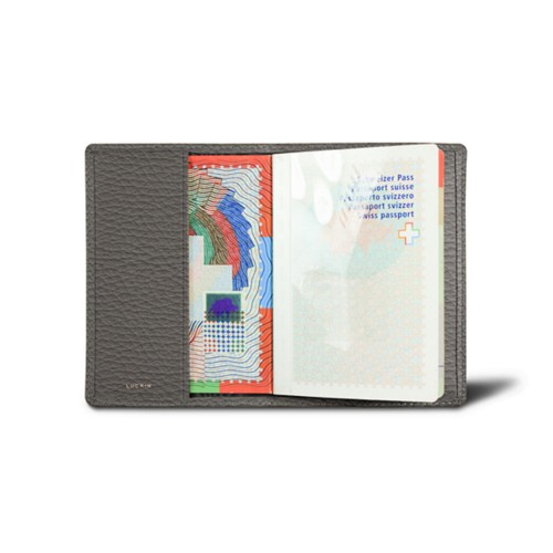 Universal passport cover - Mouse-Grey - Granulated Leather