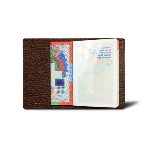Universal Passport Cover - Brown - Granulated Leather