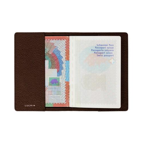 Universal passport cover - Dark Brown - Granulated Leather